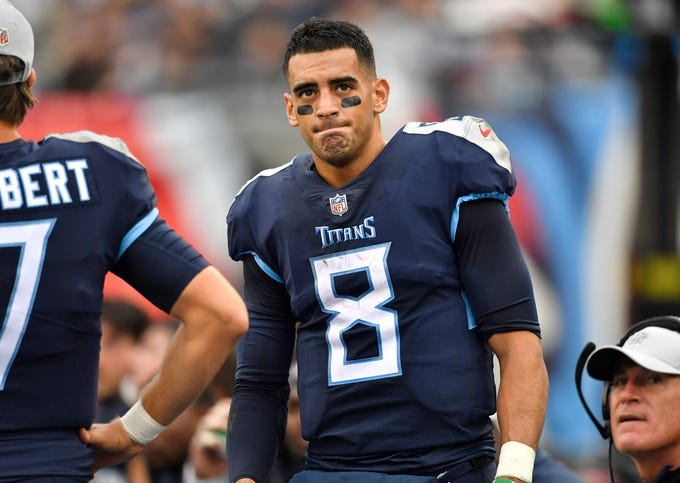 Most underwhelming: Marcus Mariota -- Titans quarterback Marcus Mariota (8) reflects on the team's first half against the Ravens at Nissan Stadium Sunday, Oct. 14, 2018, in Nashville, Tenn.