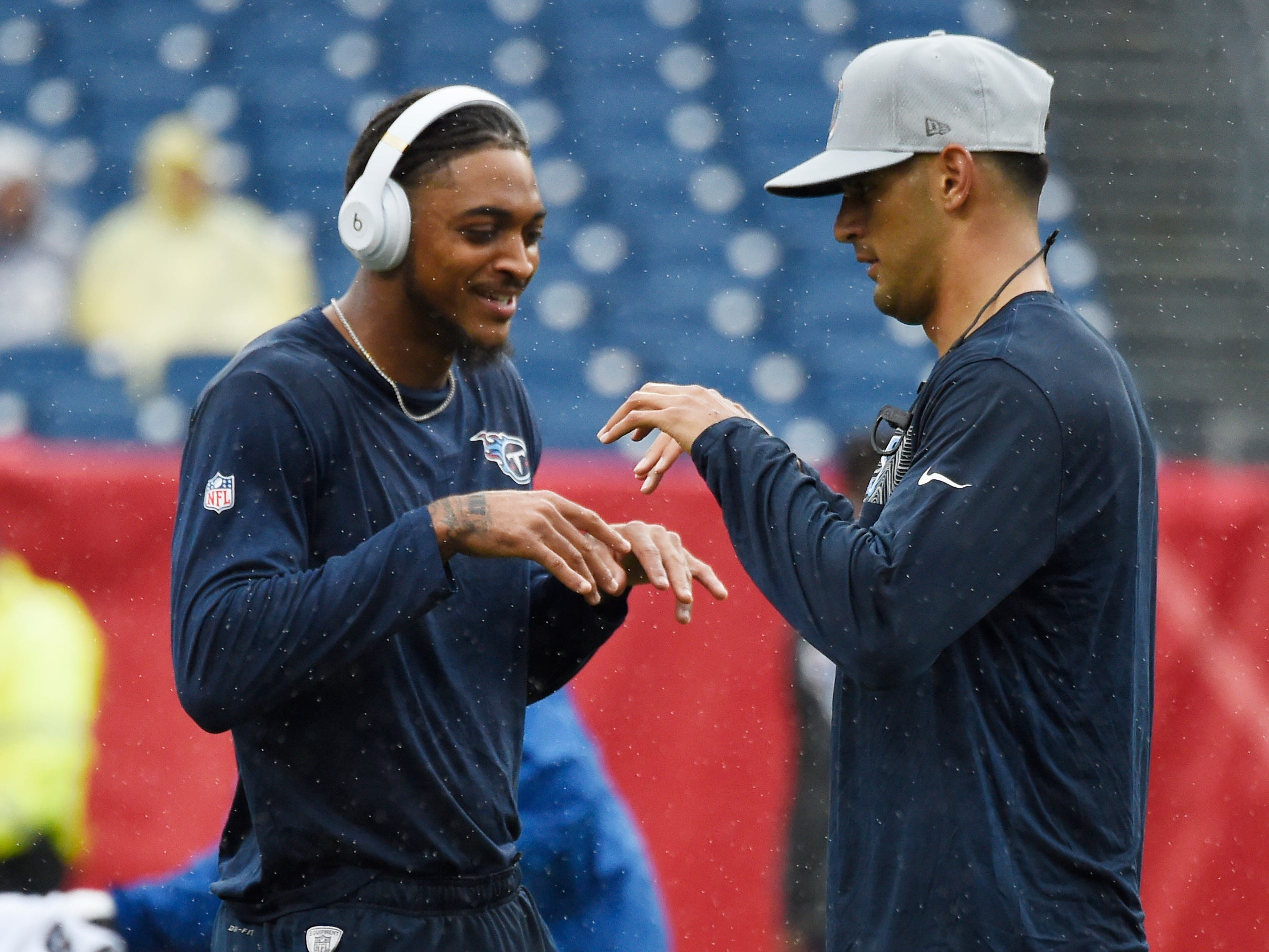 Titans wide receiver Tajae Sharpe (19) and quarterback Marcus Mariota (8) do their handshake before the game against the Ravens at Nissan Stadium Sunday, Oct. 14, 2018, in Nashville, Tenn.
