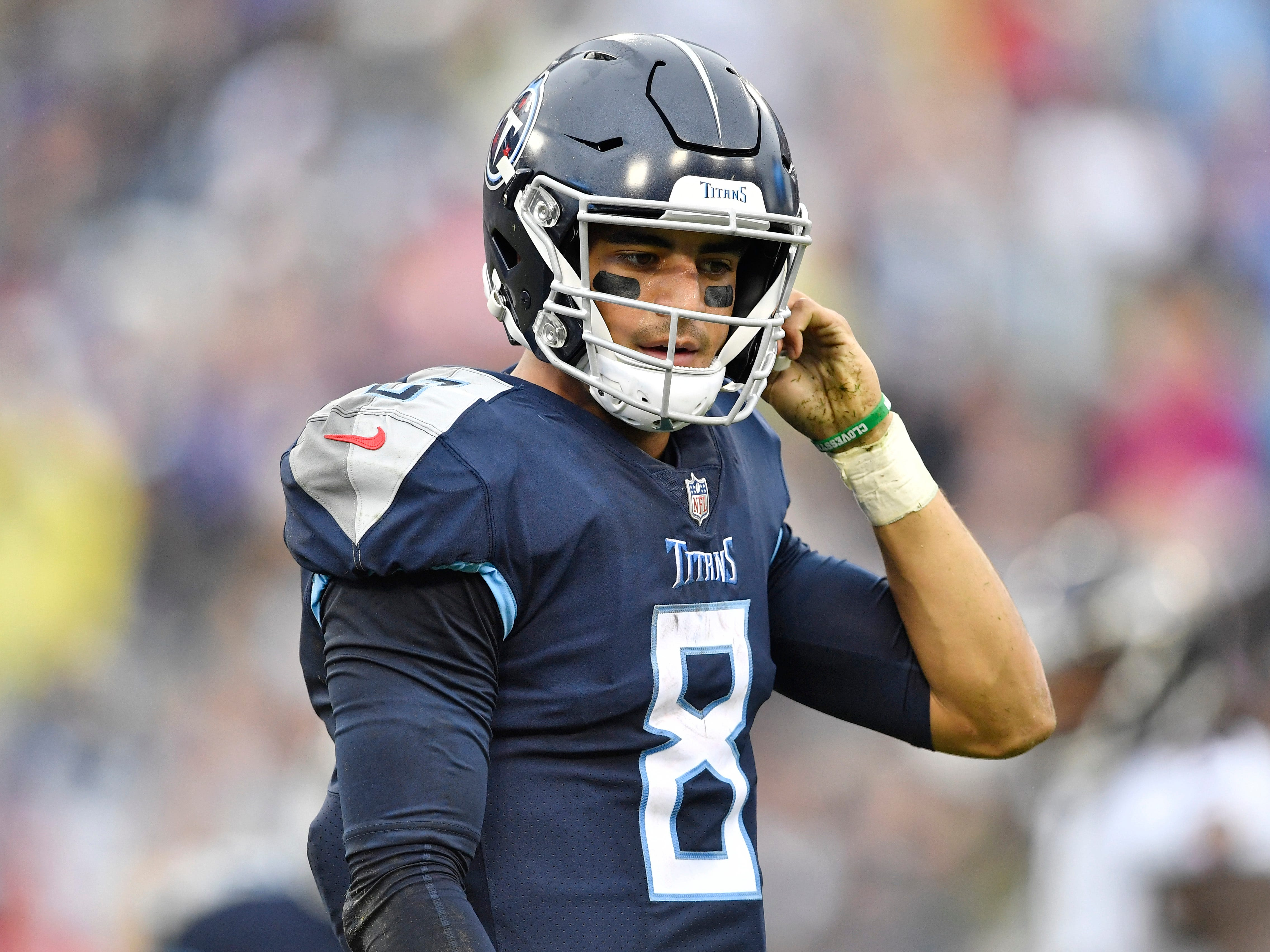 Titans quarterback Marcus Mariota (8) walks off the field after being sacked in the second quarter at Nissan Stadium Sunday, Oct. 14, 2018, in Nashville, Tenn.