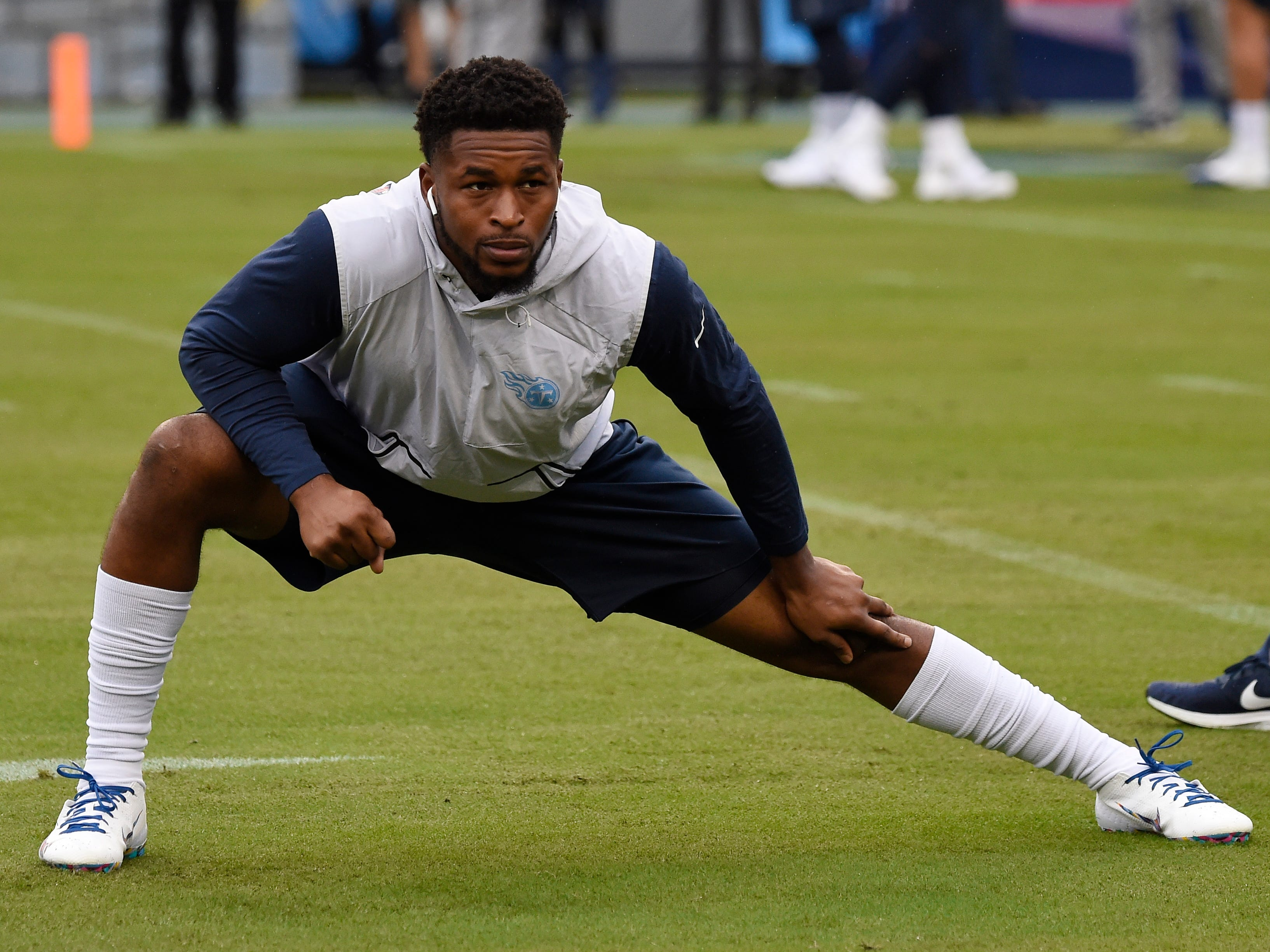 Titans free safety Kevin Byard (31) warms up before the start of the game at Nissan Stadium Sunday, Oct. 14, 2018, in Nashville, Tenn.