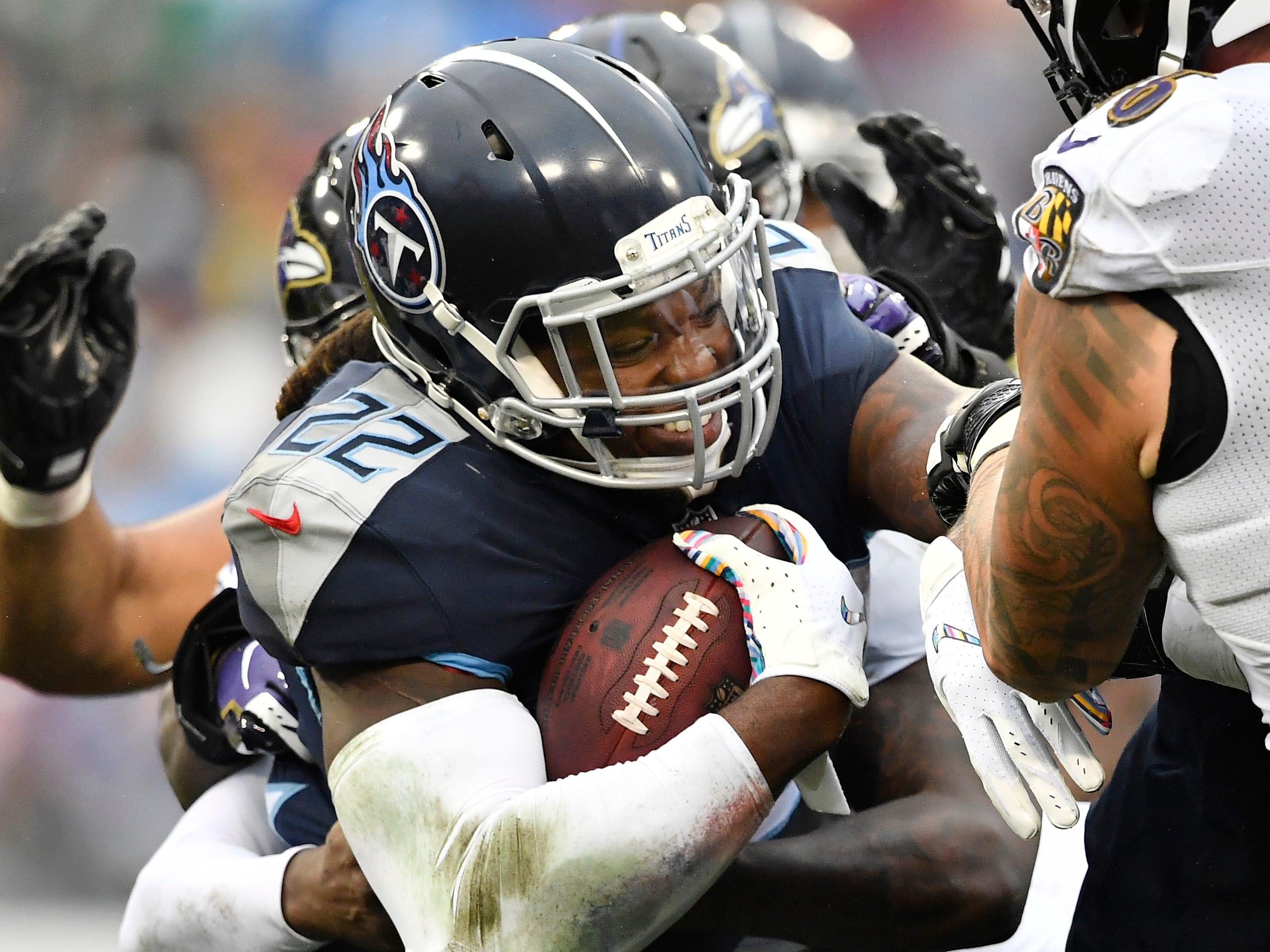 Biggest letdown runner-up: Derrick Henry -- Titans running back Derrick Henry (22) is stopped by Ravens defenders in the third quarter at Nissan Stadium Sunday, Oct. 14, 2018, in Nashville, Tenn.