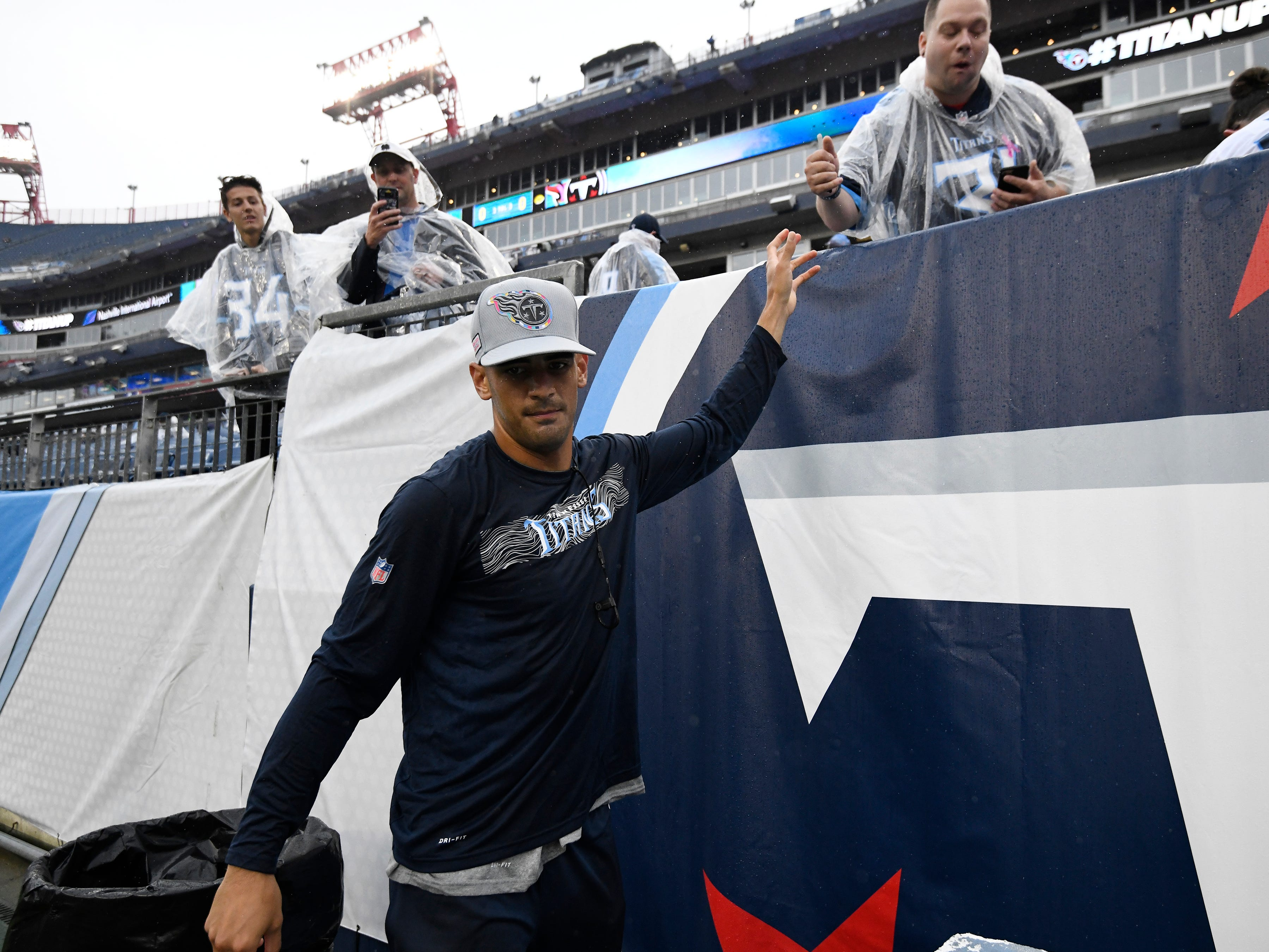 Titans quarterback Marcus Mariota (8) greets fans before the game at at Nissan Stadium Sunday, Oct. 14, 2018, in Nashville, Tenn.