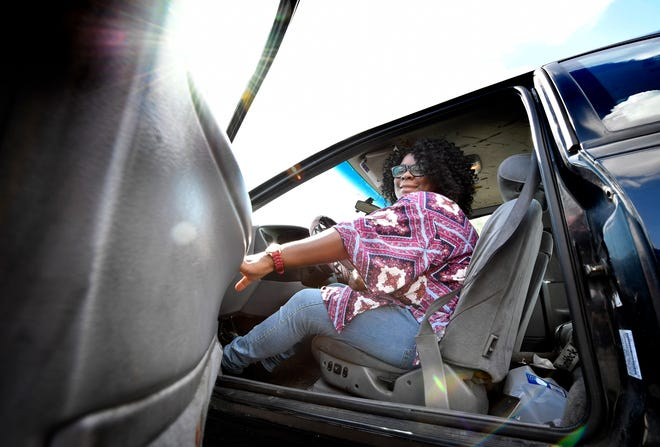 """Doris Dryden is overcoming obstacles as she goes back to school at Nashville State Community College. The door on her car won't latch so she has to hold onto it as she drives, """"especially if I go around a curve real fast,"""" Dryden said, giggling. """"Just can't afford a car payment and go to school."""""""