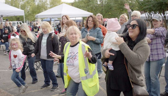 The crowd dances to the Music on Main in Ashland City, Tenn., on Oct. 13, 2018.