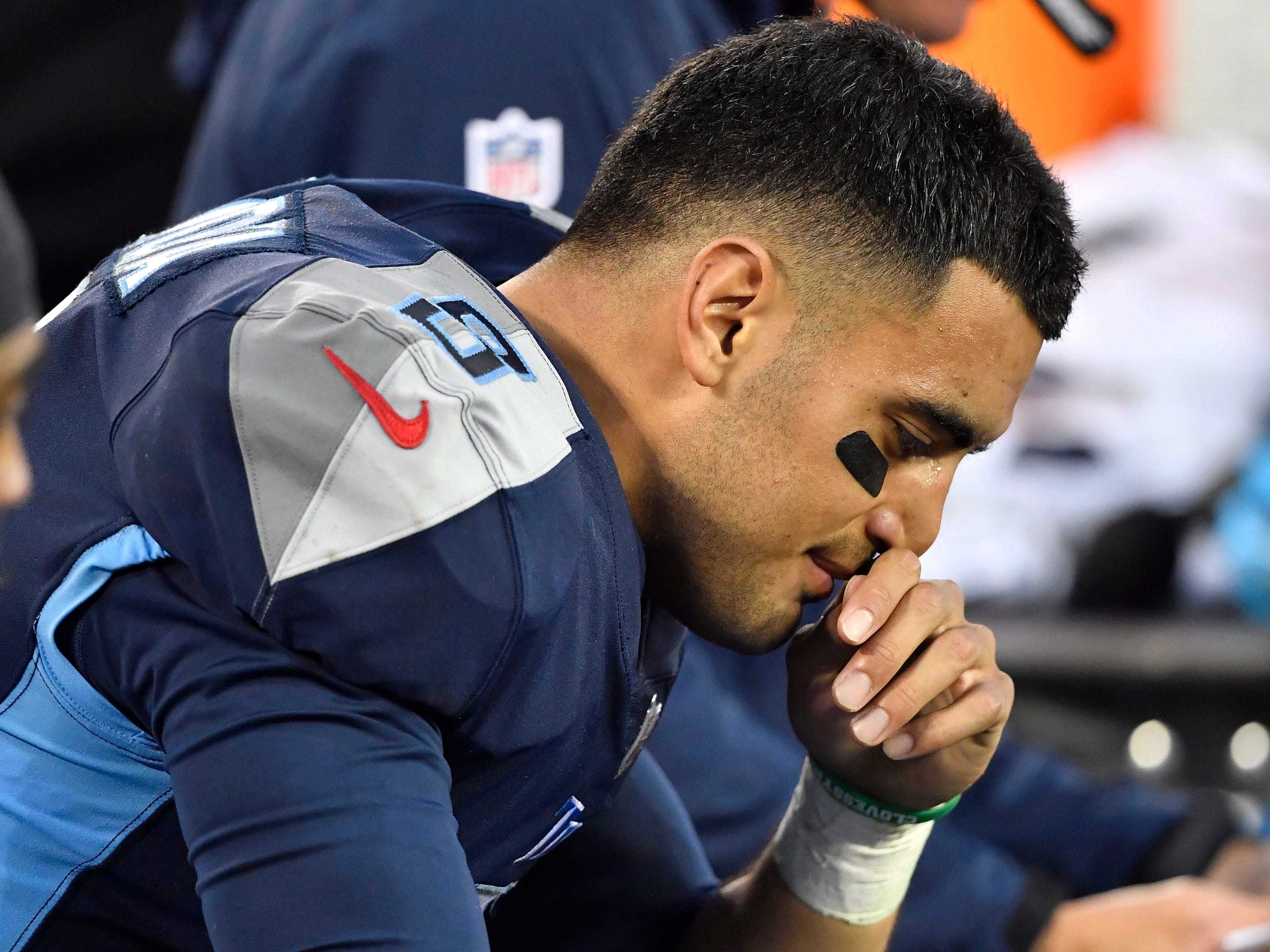 Titans quarterback Marcus Mariota (8) reacts along the sidelines in the fourth quarter of the team's 21-0 loss to the Ravens at Nissan Stadium Sunday, Oct. 14, 2018, in Nashville, Tenn.