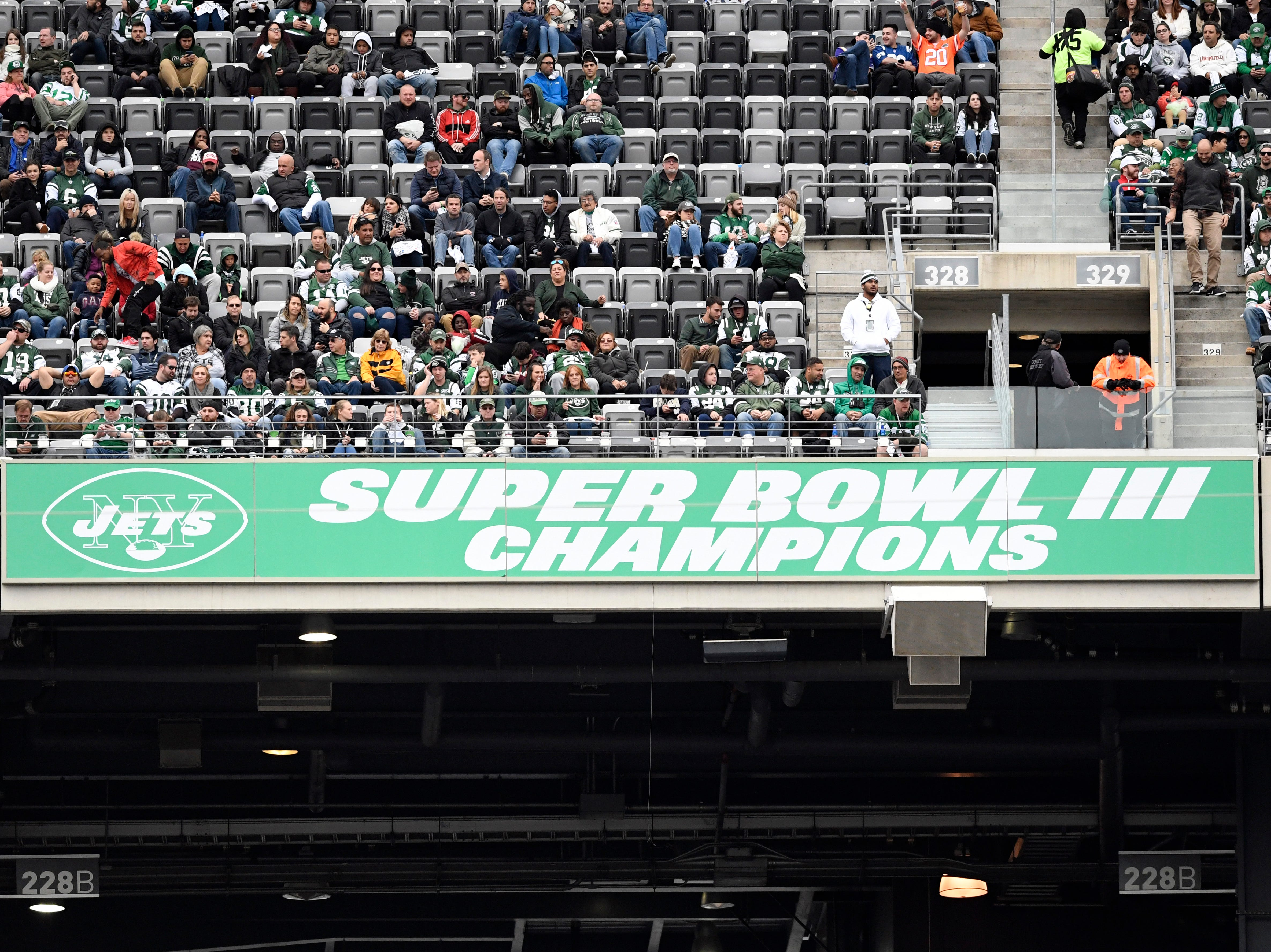 A new banner celebrating the 1968 Jets was unveiled during the halftime ceremony. The Jets defeat the Indianapolis Colts 42-34 in Week 6 on Sunday, Oct. 14, 2018, in East Rutherford.