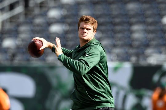 New York Jets quarterback Sam Darnold throws the ball during warm ups. The New York Jets host the Indianapolis Colts in Week 6 on Sunday, Oct. 14, 2018, in East Rutherford.