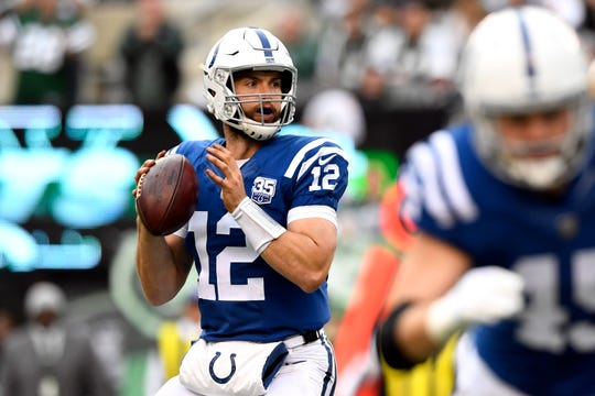Indianapolis Colts quarterback Andrew Luck (12) looks for an open receiver in the second half. The Jets defeat the Indianapolis Colts 42-34 in Week 6 on Sunday, Oct. 14, 2018, in East Rutherford.