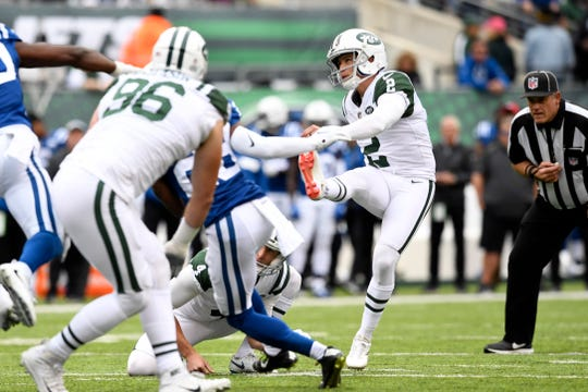 New York Jets kicker Jason Myers (2) kicks a field goal in the first half. Myers broke the team record for most field goals in one game with seven for the day. The Jets defeat the Indianapolis Colts 42-34 in Week 6 on Sunday, Oct. 14, 2018, in East Rutherford.