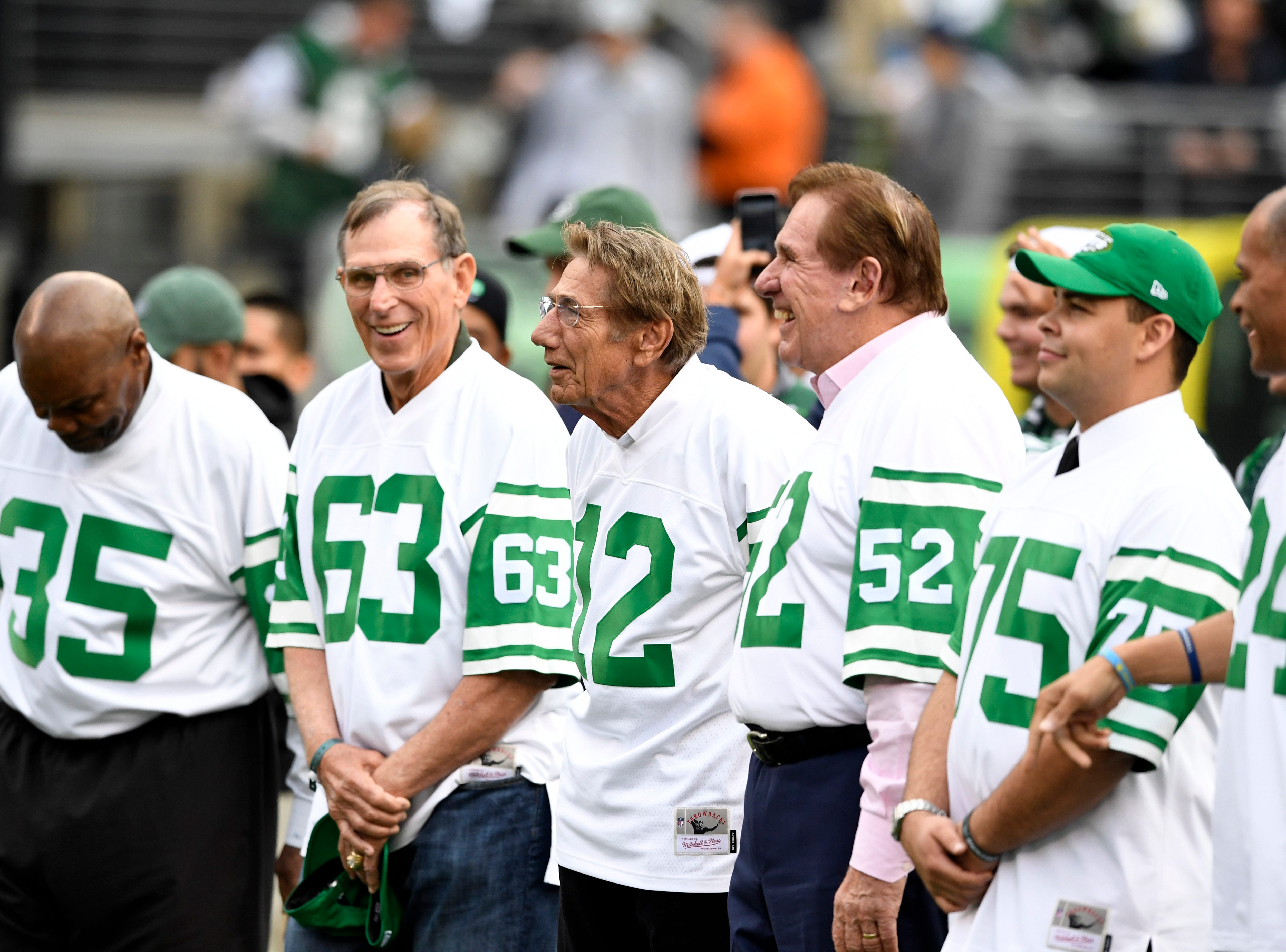 The New York Jets celebrated their Super Bowl III winners, the 1968 Jets, including Joe Namath (12), during halftime. The New York Jets host the Indianapolis Colts in Week 6 on Sunday, Oct. 14, 2018, in East Rutherford.