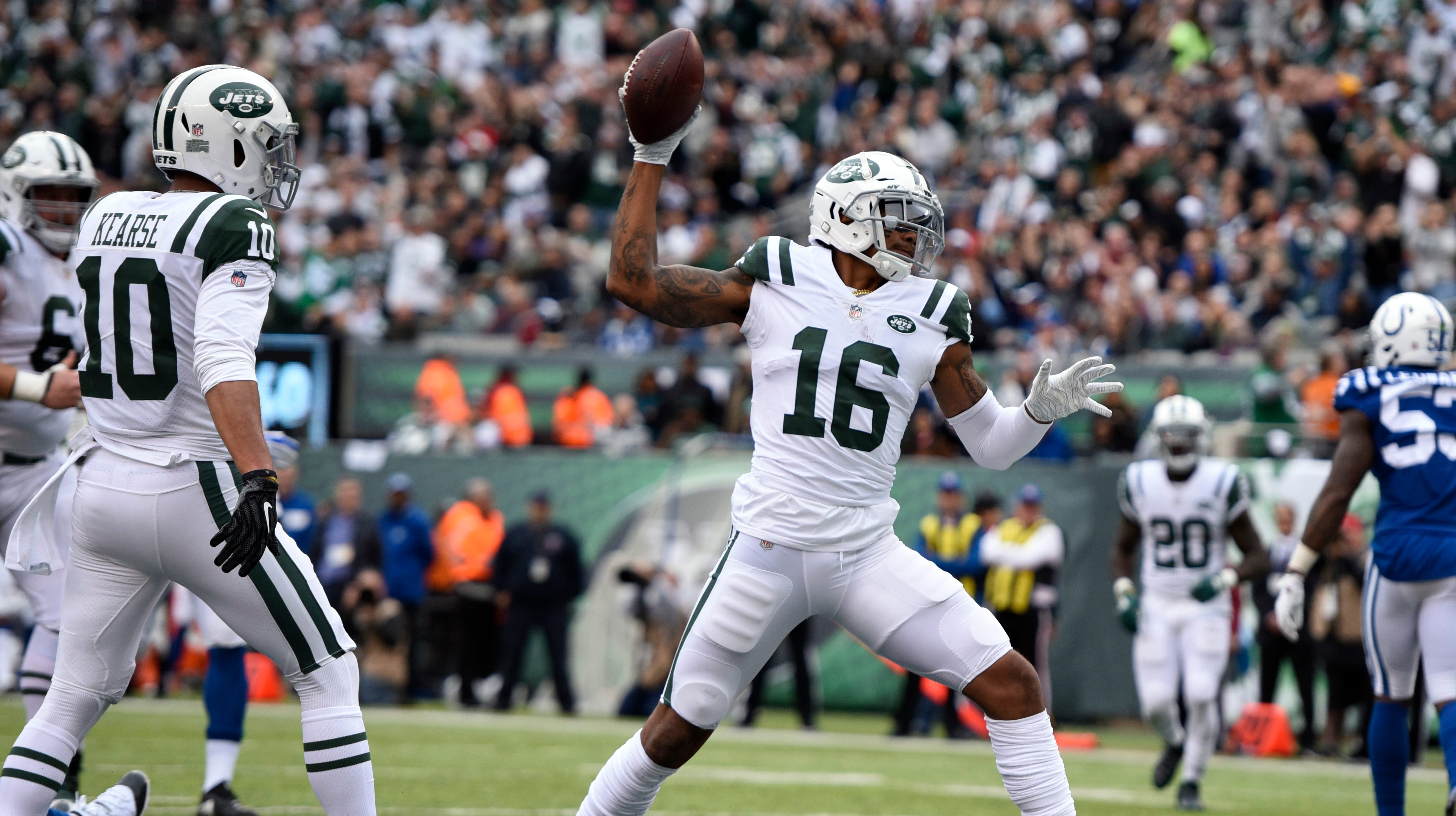 New York Jets wide receiver Terrelle Pryor (16) celebrates his touchdown catch in the first half. The New York Jets host the Indianapolis Colts in Week 6 on Sunday, Oct. 14, 2018, in East Rutherford.
