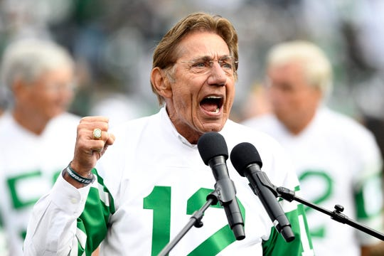 Former New York Jets quarterback and Super Bowl III MVP Joe Namath yells the Jets chant during the halftime show honoring the 1968 team. The New York Jets host the Indianapolis Colts in Week 6 on Sunday, Oct. 14, 2018, in East Rutherford.