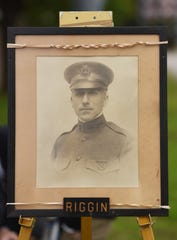 A portrait of Riggin was on display at Sunday's ceremony.