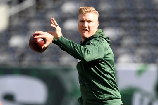New York Jets quarterback Josh McCown throws the ball during warm ups. The New York Jets host the Indianapolis Colts in Week 6 on Sunday, Oct. 14, 2018, in East Rutherford.