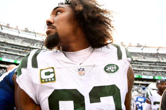 New York Jets defensive end Leonard Williams (92) on the field after the Jets' win. The New York Jets host the Indianapolis Colts in Week 6 on Sunday, Oct. 14, 2018, in East Rutherford.