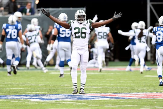 New York Jets safety Marcus Maye (26) celebrates an interception for a touchdown by teammate Morris Claiborne (not pictured) in the first half. The New York Jets host the Indianapolis Colts in Week 6 on Sunday, Oct. 14, 2018, in East Rutherford.
