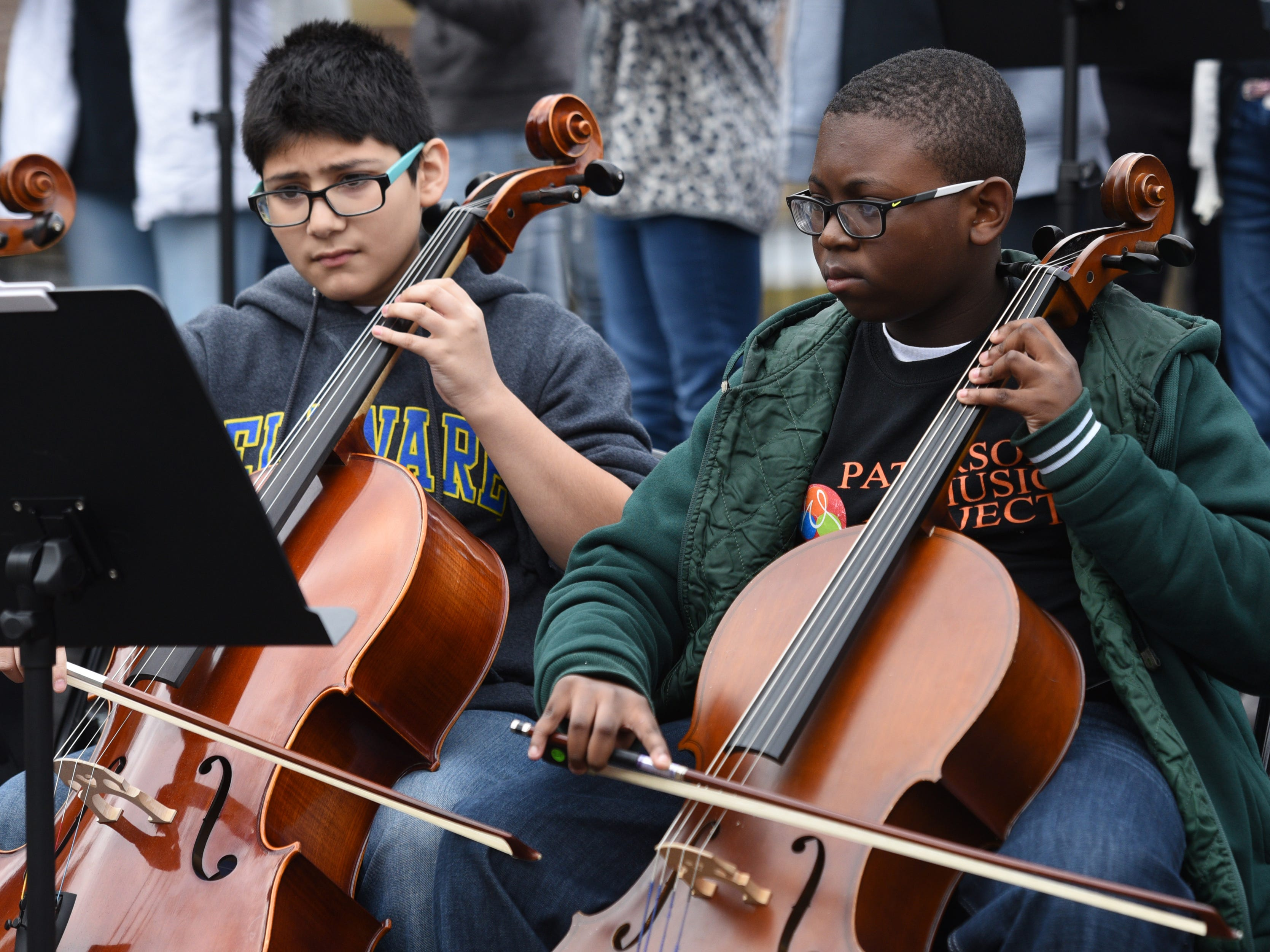 The 2018 Art in the Park Showcase was held in Overlook Park, located at the Paterson Great Falls National Historical Park on Sunday, October 14, 2018. Members of the Paterson Music Project perform during the showcase.