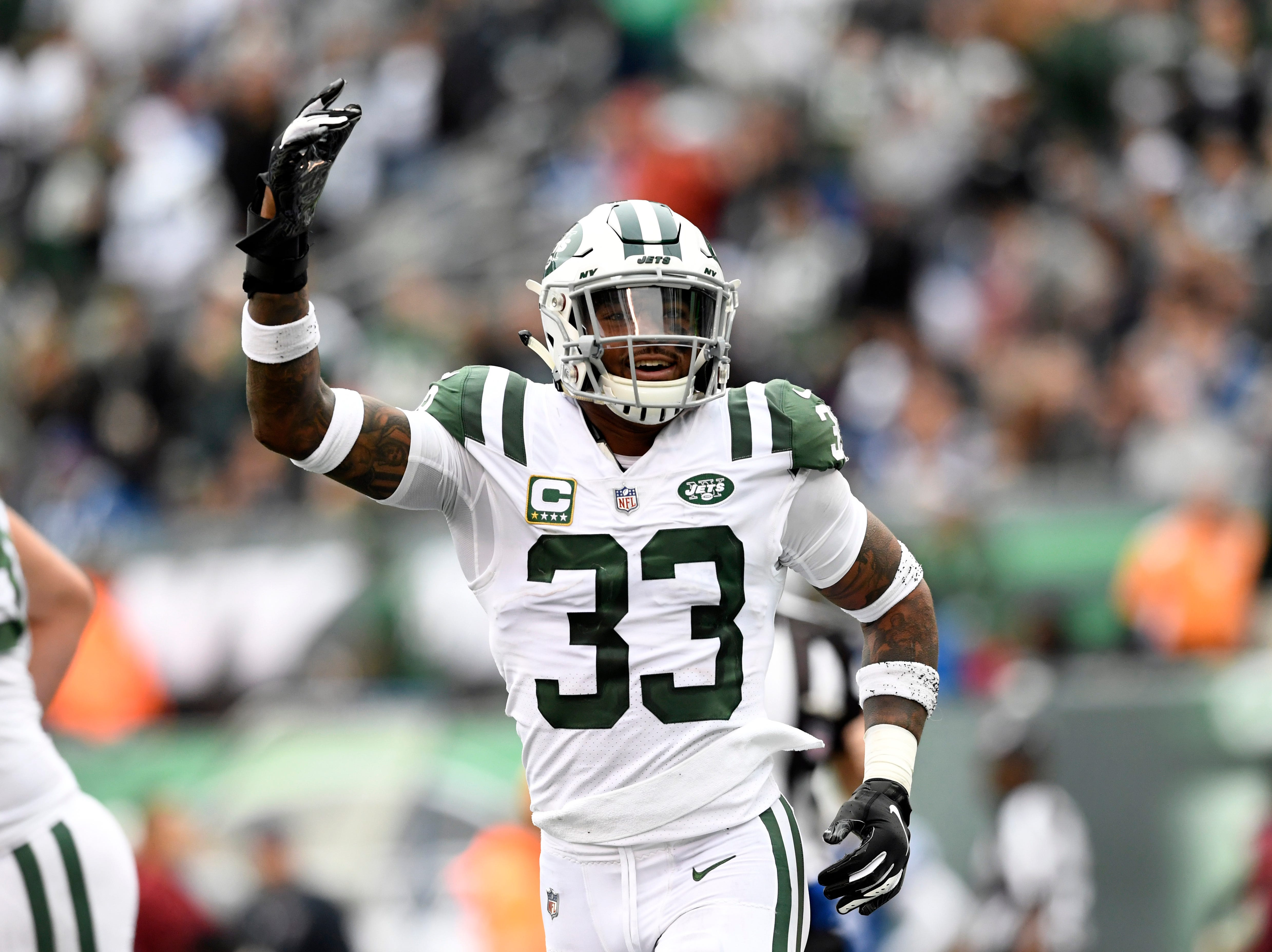 New York Jets safety Jamal Adams (33) celebrates a turnover in the second half. The New York Jets host the Indianapolis Colts in Week 6 on Sunday, Oct. 14, 2018, in East Rutherford.