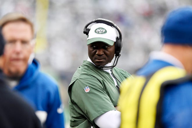 New York Jets head coach Todd Bowles on the sideline in the second half. The Jets defeat the Indianapolis Colts 42-34 in Week 6 on Sunday, Oct. 14, 2018, in East Rutherford.