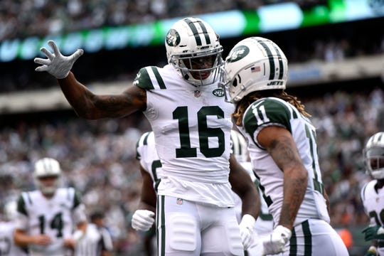 New York Jets wide receiver Terrelle Pryor (16) celebrates his touchdown catch with Robby Anderson (11) in the first half. The New York Jets host the Indianapolis Colts in Week 6 on Sunday, Oct. 14, 2018, in East Rutherford.