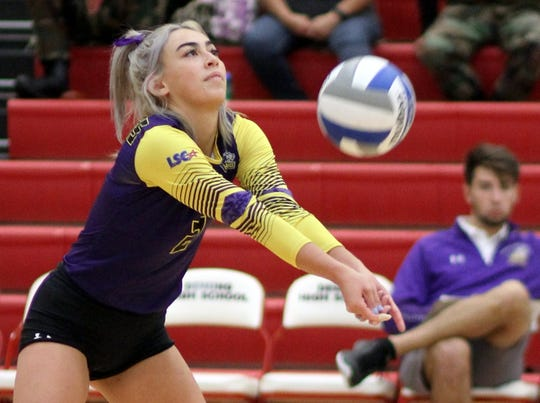 Junior Mustangs libero Gabi Lau led a hustling back court with 27 digs on Saturday against Texas A&M University-Kingsville.