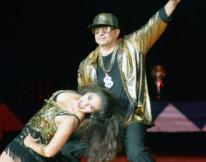 Eric Enriquez, the Las Cruces fire chief, has fun dancing a cha cha with his partner Crystal Miranda  during Look Who's Dancing! Saturday, Oct. 13, 2018, at the Pan American Center.