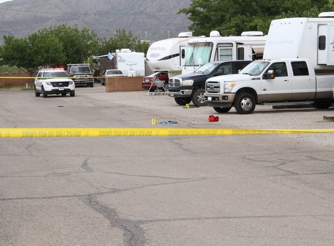 New Mexico State Police continue their investigation of an officer involved shooting at the White Sands trailer park Sunday, Oct. 14, 2018.