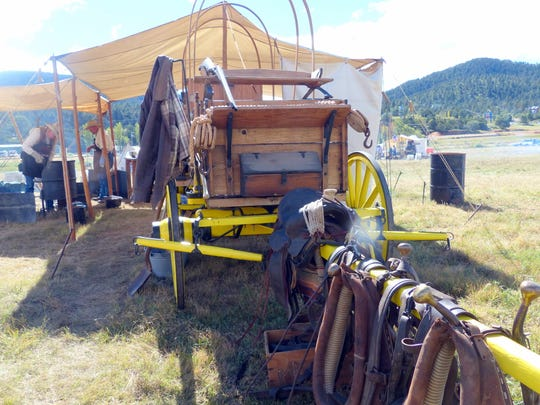 Chuckwagons displayed tack and other gear.