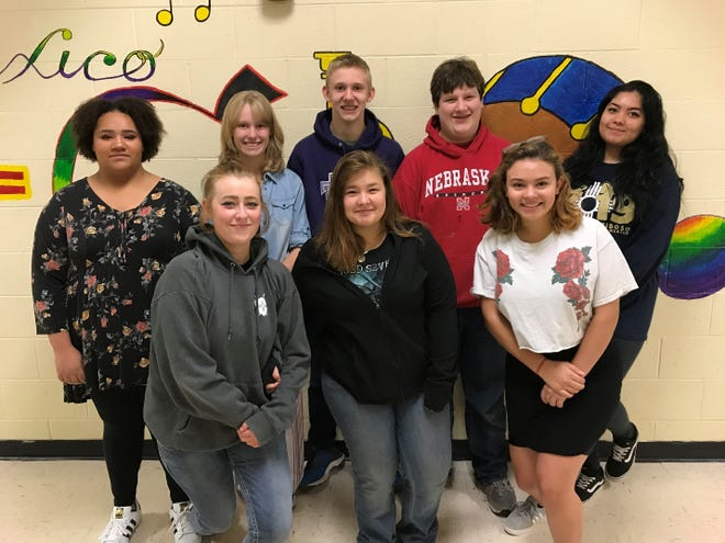 Ruidoso High School students in the Spotlight. Makaila VanSlyke, Ashtin Bright, Morgan Chase, Connor Chase, Brettney Travis, Ben Knox, Kiara Armstrong, and Alma Rodriguez
