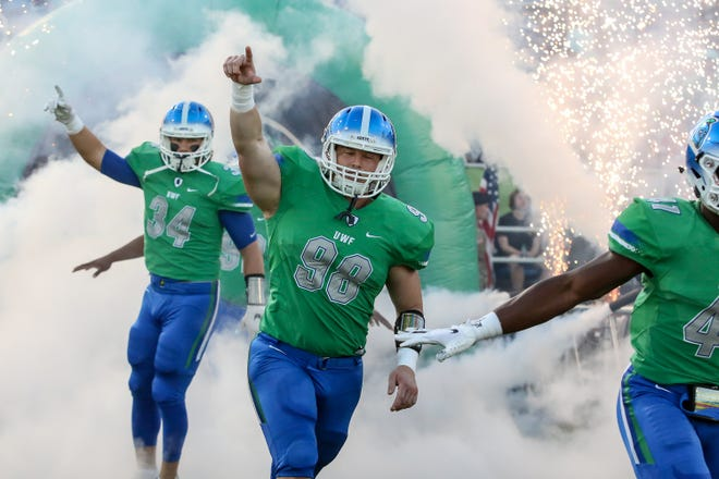 The Argos take the field before the start of the homecoming game against West Georgia at Blue Wahoos Stadium on Saturday, October 13, 2018. Ranked No. 10 before the start of the game, the Argos lost to the undefeated Wolves, ranked No. 4, 27-7 in front of 6,838 fans, the largest home crowd to date. West Florida falls to 5-2 on the season and West Georgia improves to 7-0.