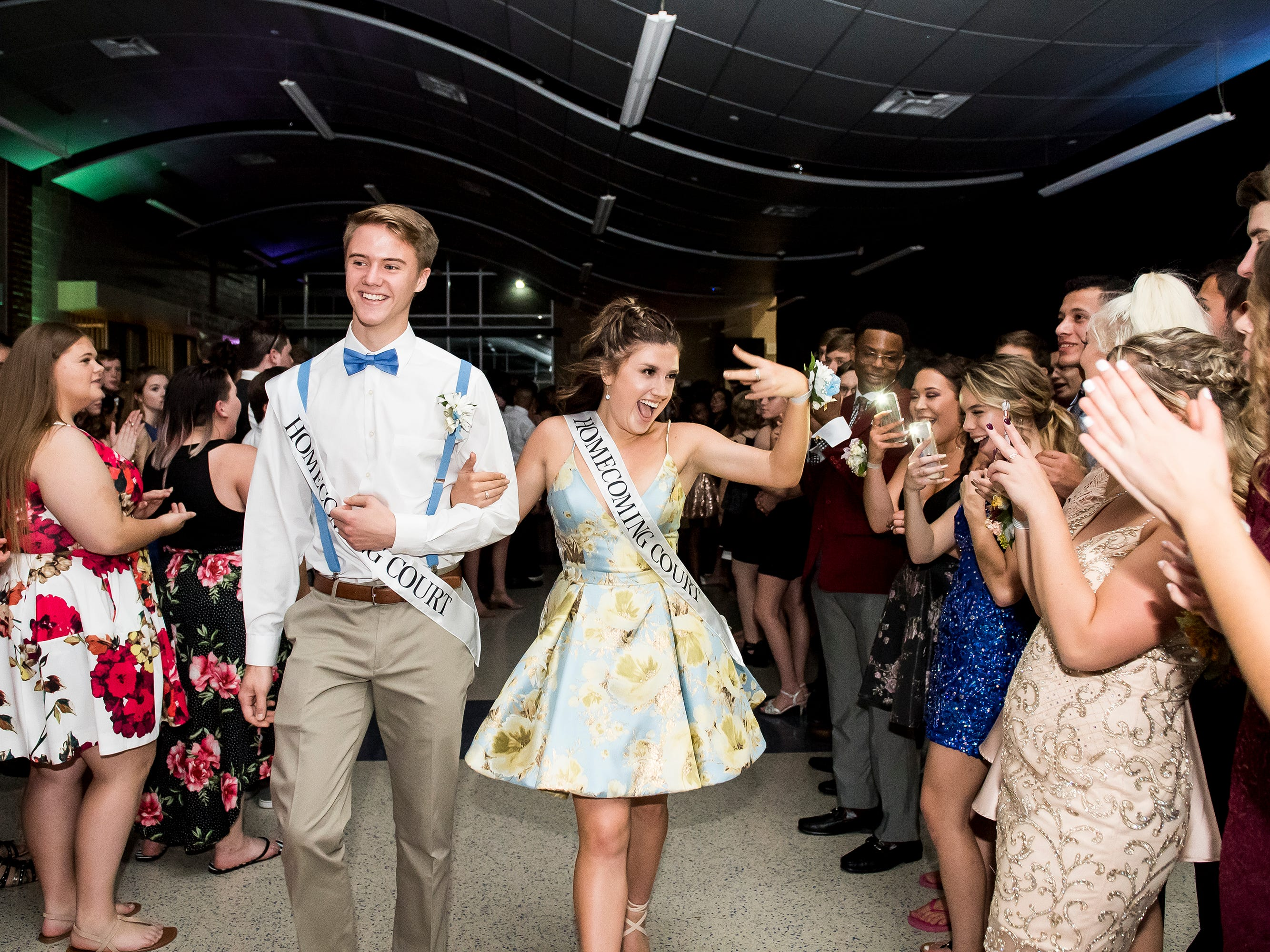 Members of the homecoming court are introduced at Spring Grove Area High School's dance on Saturday, October 13, 2018.