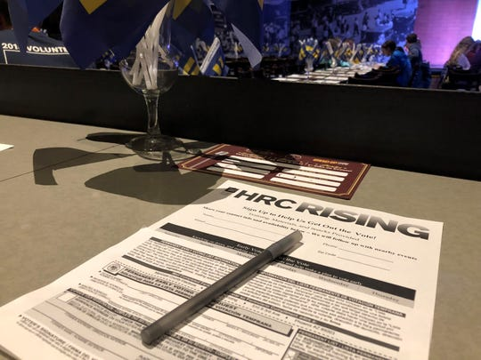 Human Rights Campaign voter registration sheet at the Glam Up the Midterms event in the Tempe Improv theater on Saturday, October 13, 2018.