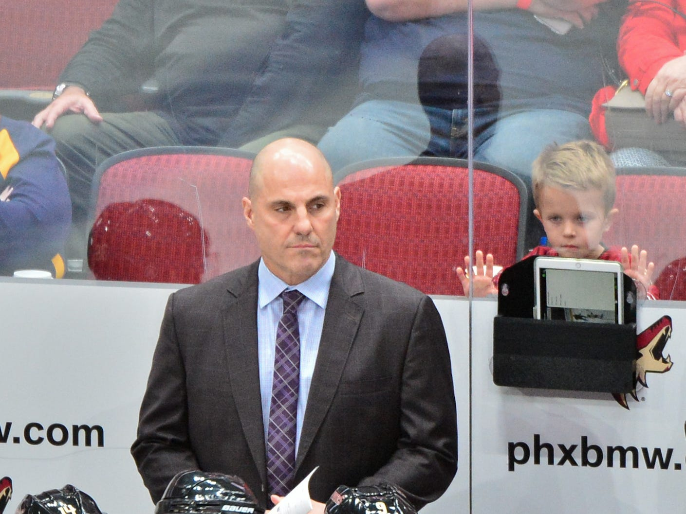 Oct 13, 2018; Glendale, AZ, USA; Arizona Coyotes head coach Rick Tocchet looks on during the first period against the Buffalo Sabres at Gila River Arena.