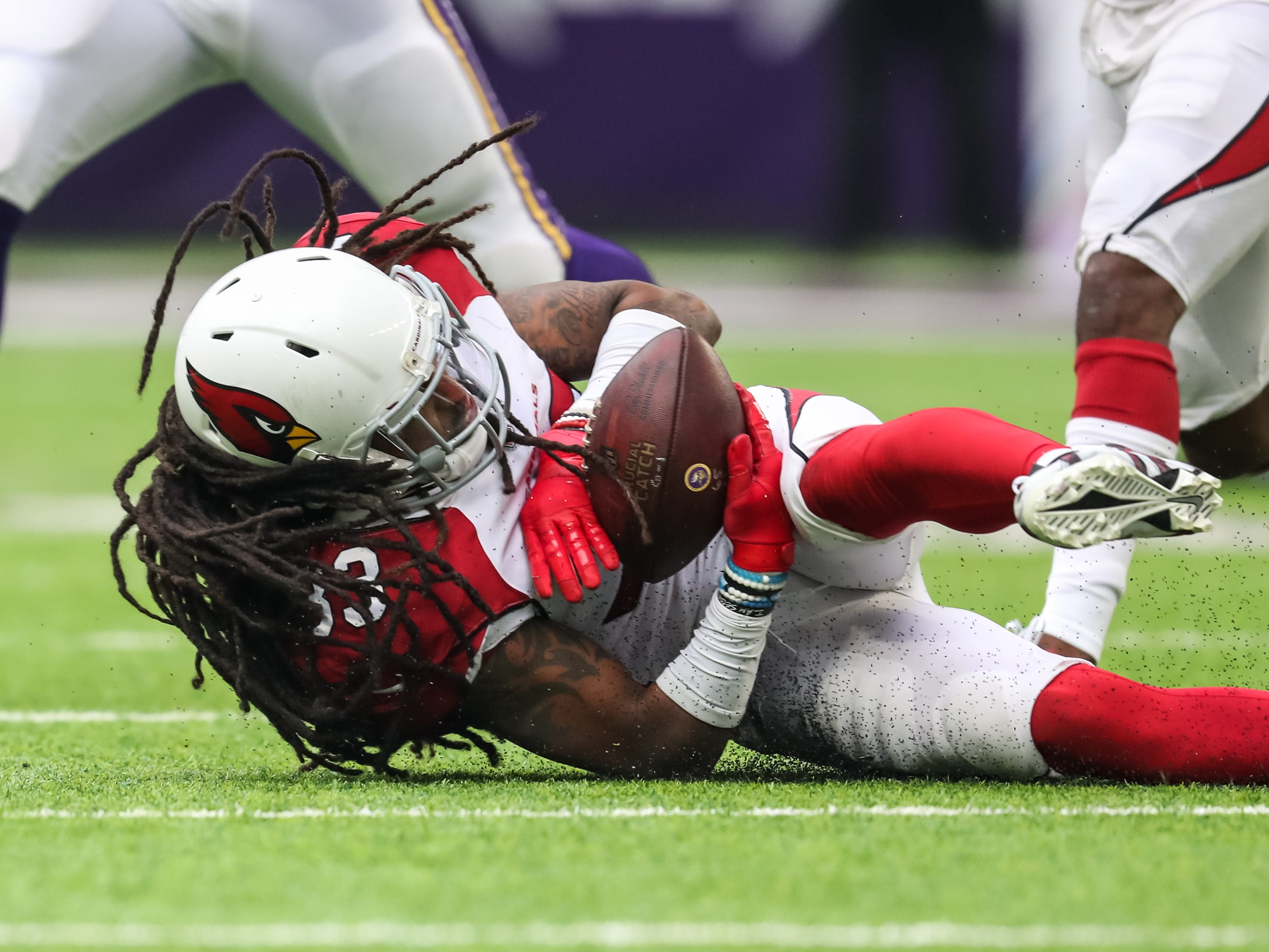 Oct 14, 2018; Minneapolis, MN, USA; Arizona Cardinals safety Tre Boston (33) intercepts a pass during the second quarter against the Minnesota Vikings at U.S. Bank Stadium. Mandatory Credit: Brace Hemmelgarn-USA TODAY Sports