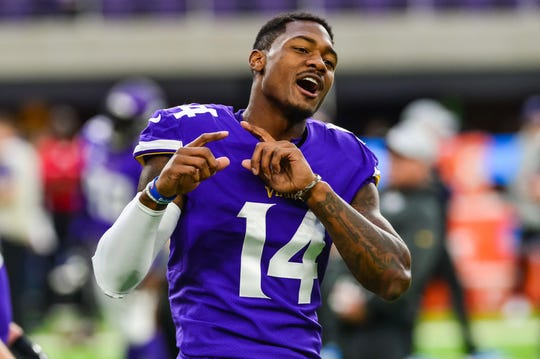 Oct 14, 2018; Minneapolis, MN, USA; Minnesota Vikings wide receiver Stefon Diggs (14) reacts before the game against the Arizona Cardinals at U.S. Bank Stadium. Mandatory Credit: Jeffrey Becker-USA TODAY Sports