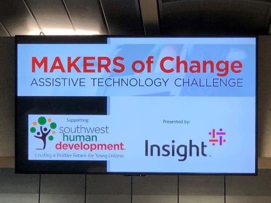 MAKERS of Change Assistive Technology Challenge sign at the Phoenix Burton Barr Public Library on Oct. 13, 2018.