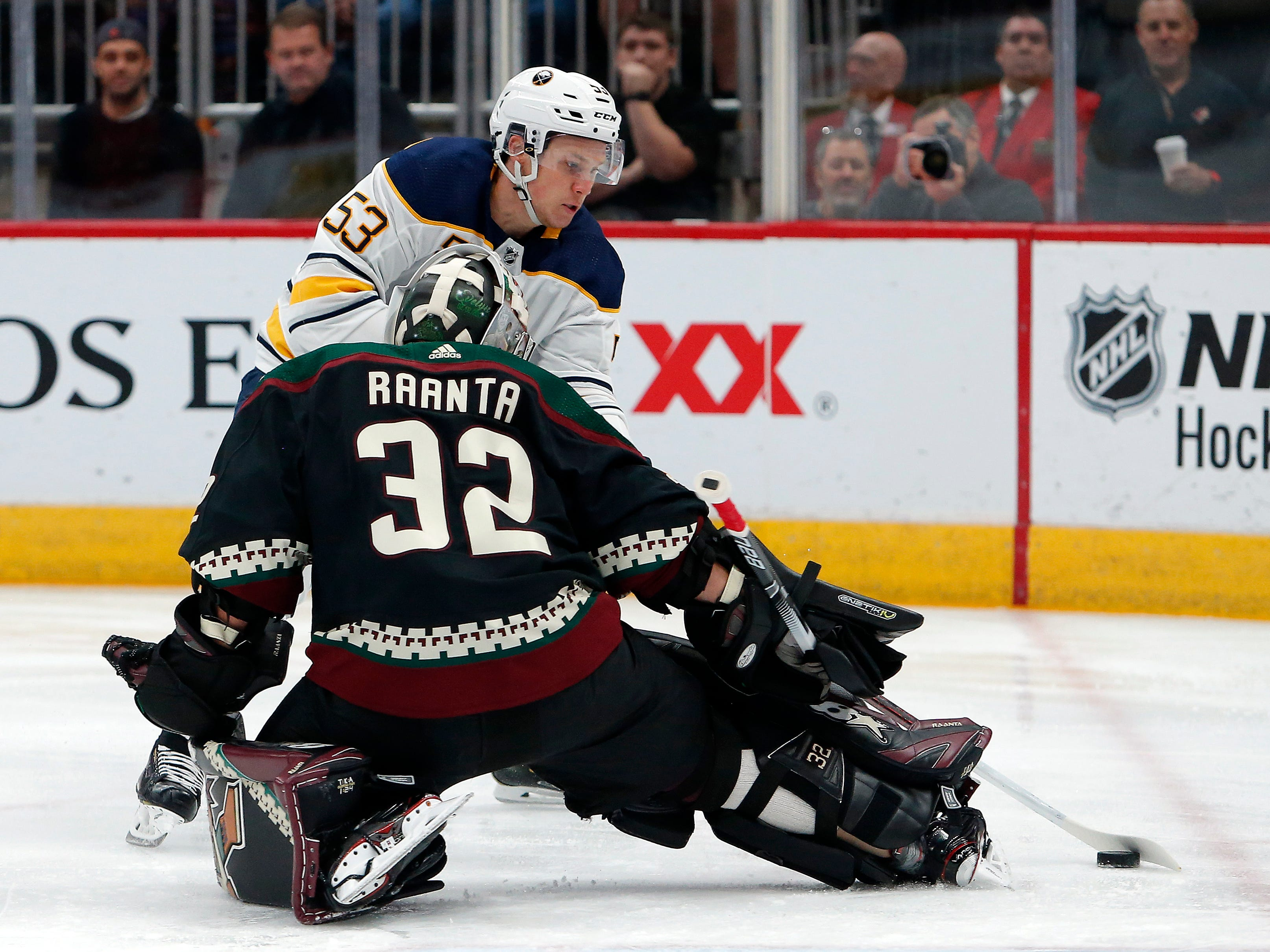 Buffalo Sabres center Jeff Skinner shoots on Arizona Coyotes goaltender Antti Raanta (32) in the first period during an NHL hockey game, Saturday, Oct. 13, 2018, in Glendale, Ariz.