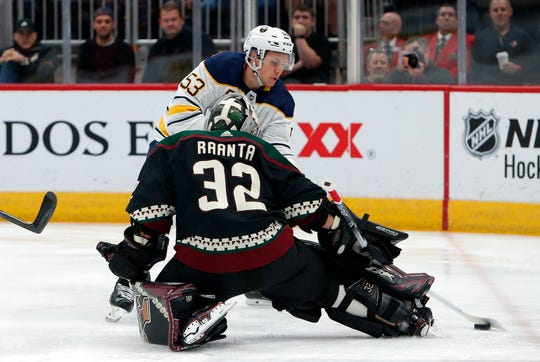 Jeff Skinner of the Sabres puts a shot on Coyotes goaltender Antti Raanta during a game on Oct. 13.