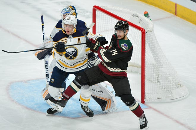 Oct 13, 2018; Glendale, AZ, USA; Arizona Coyotes right wing Richard Panik (14) and Buffalo Sabres defenseman Rasmus Ristolainen (55) battle for position in front of goaltender Linus Ullmark (35) during the first period at Gila River Arena.