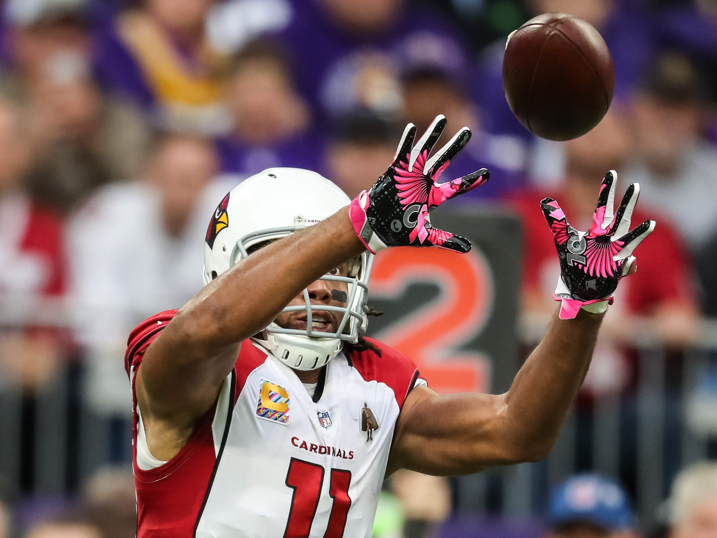 Oct 14, 2018; Minneapolis, MN, USA; Arizona Cardinals wide receiver Larry Fitzgerald (11) catches a pass during the first quarter against the Minnesota Vikings at U.S. Bank Stadium. Mandatory Credit: Brace Hemmelgarn-USA TODAY Sports