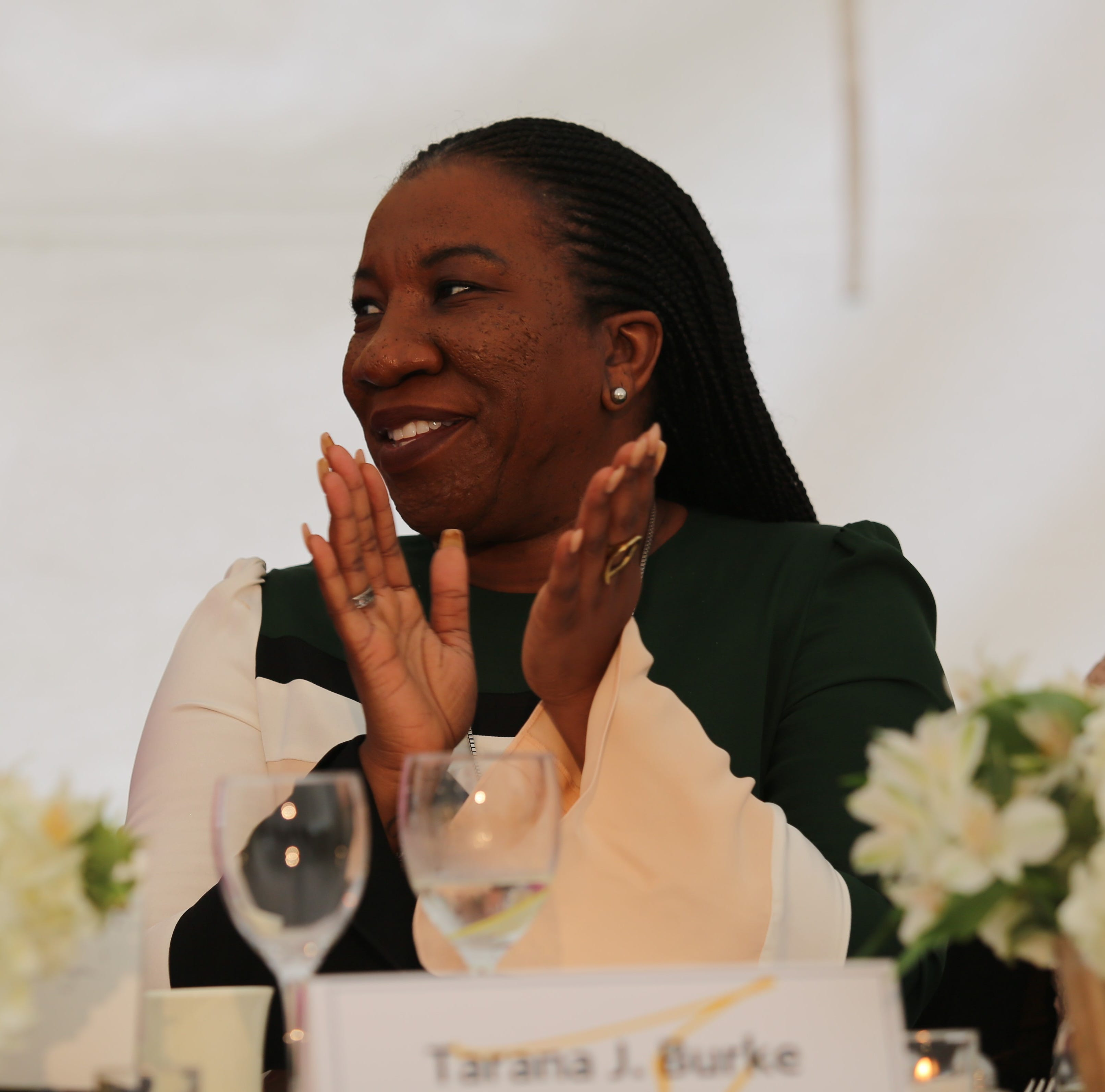 Tarana Burke, the founder of the Me Too movement, claps during the Eleanor Roosvelt Val-Kill Award Ceremony on Sunday. She was one of six people honored.