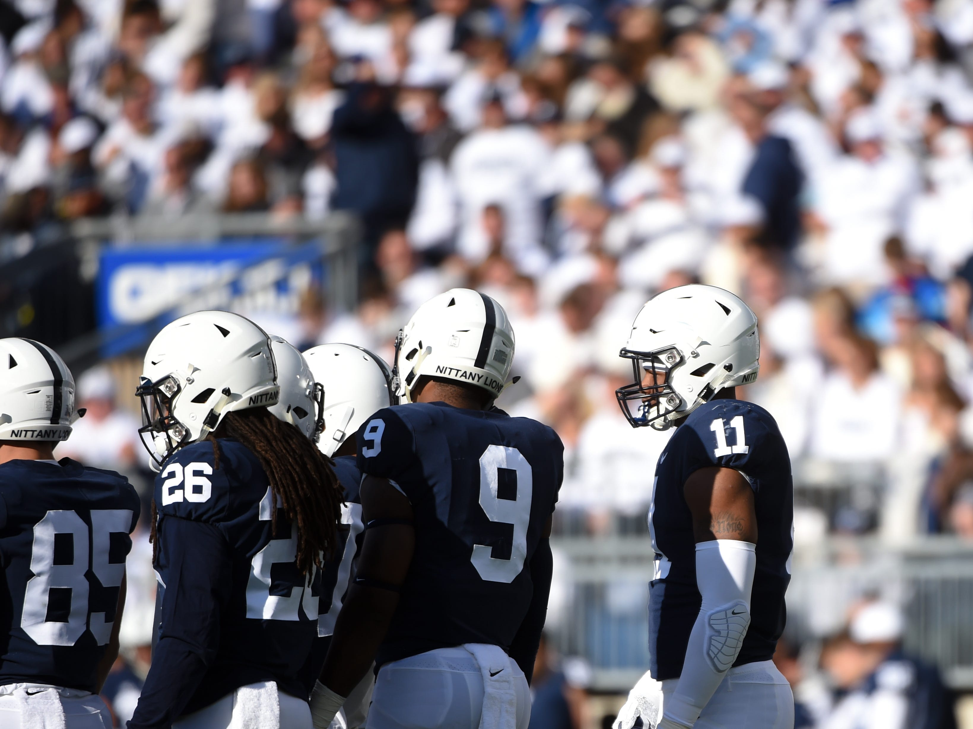 Penn State's defense huddles up during the Penn State Homecoming game against Michigan State, October 13, 2018. The Nittany Lions fell to the Spartans 17-21.
