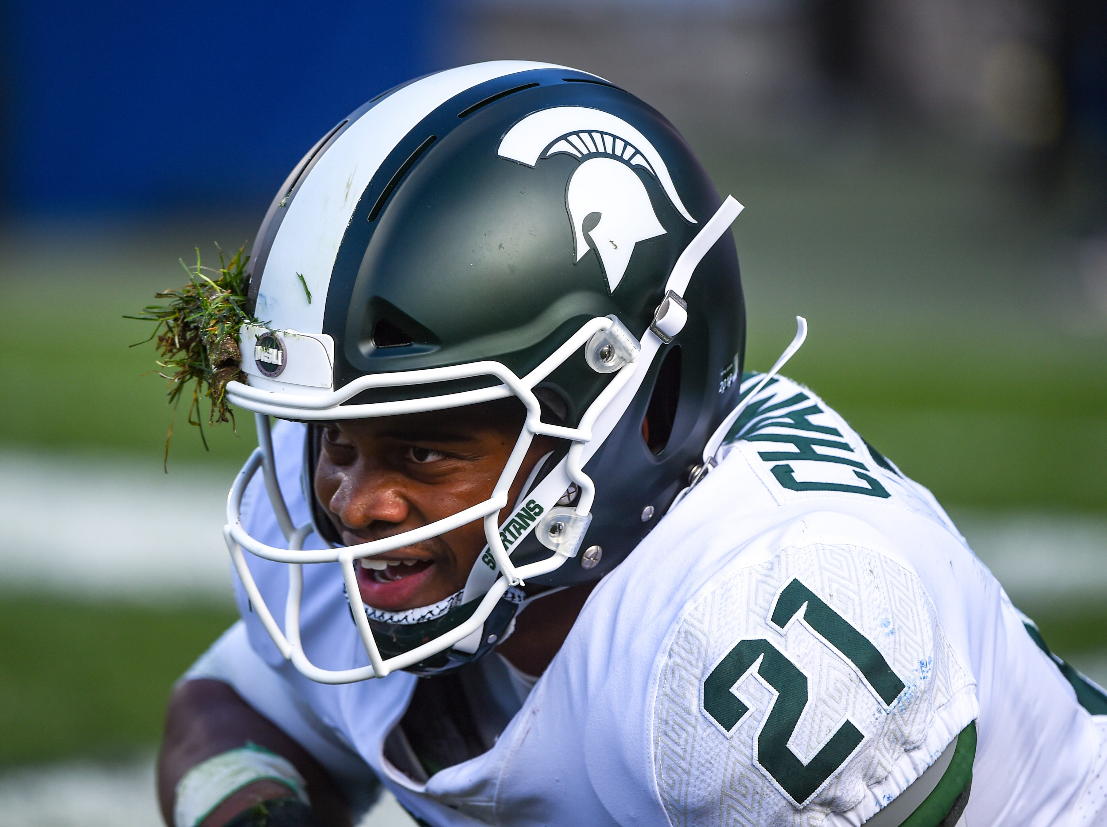Cam Chambers (21) of Michigan State looks to the refs during the Penn State Homecoming game, October 13, 2018. The Nittany Lions fell to the Spartans 17-21.