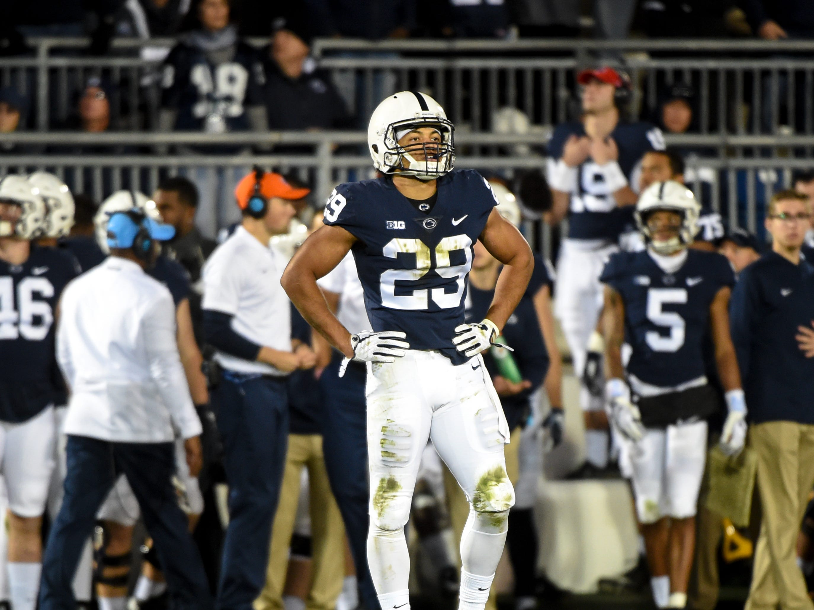 John Reid (29) waits for the next play during the Penn State Homecoming game against Michigan State, October 13, 2018. The Nittany Lions fell to the Spartans 17-21.