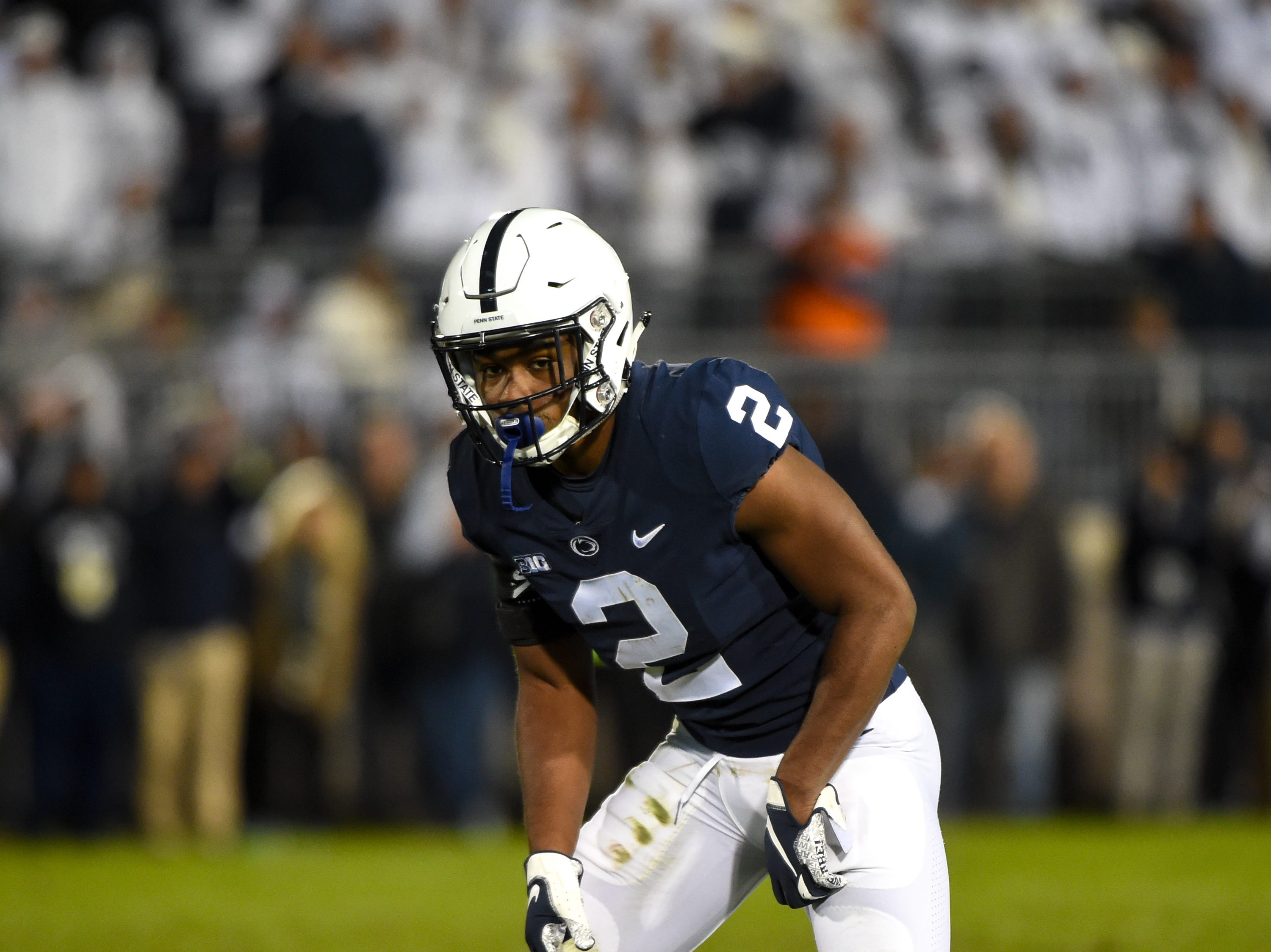 Donovan Johnson (2) sets up at the line of scrimmage during the Penn State Homecoming game against Michigan State, October 13, 2018. The Nittany Lions fell to the Spartans 17-21.