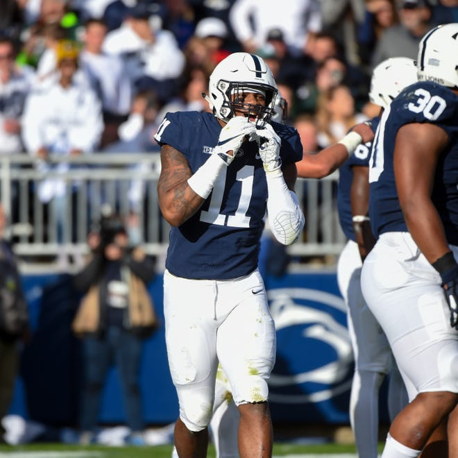 Micah Parsons (11) celebrates a crucial stop during the Penn State Homecoming game against Michigan State, October 13, 2018. The Nittany Lions fell to the Spartans 17-21.
