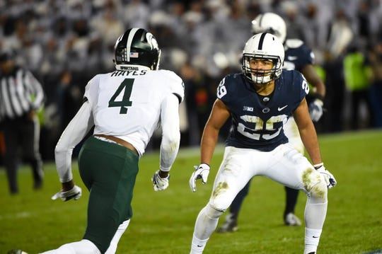 John Reid (29) tracks the receiver during the Penn State Homecoming game against Michigan State, October 13, 2018. The Nittany Lions fell to the Spartans 17-21.
