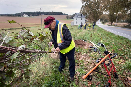 """Paul Duryea, 78 of Dover Township, walked with his roller walker from a parking area armed with a rake to finally help plant one of the Trees for the Trail Sunday. Duryea, got involved with the Rotary tree project in 1996 when he lived in southern York County. He said, """"I'm delighted to see the culmination of a 20-year effort."""""""