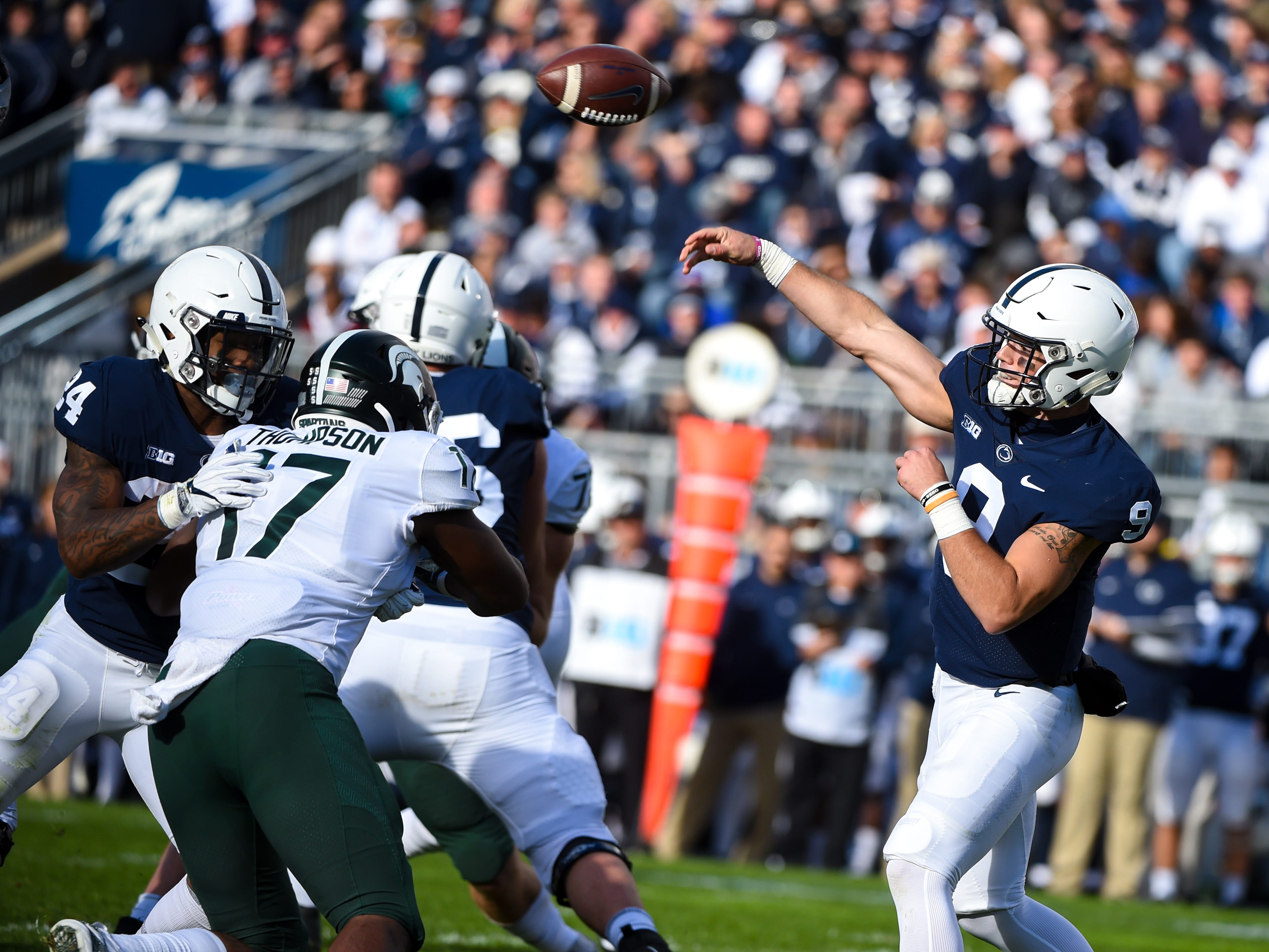 Trace McSorley (9) sends a pass down field during the Penn State Homecoming game against Michigan State, October 13, 2018. The Nittany Lions fell to the Spartans 17-21.