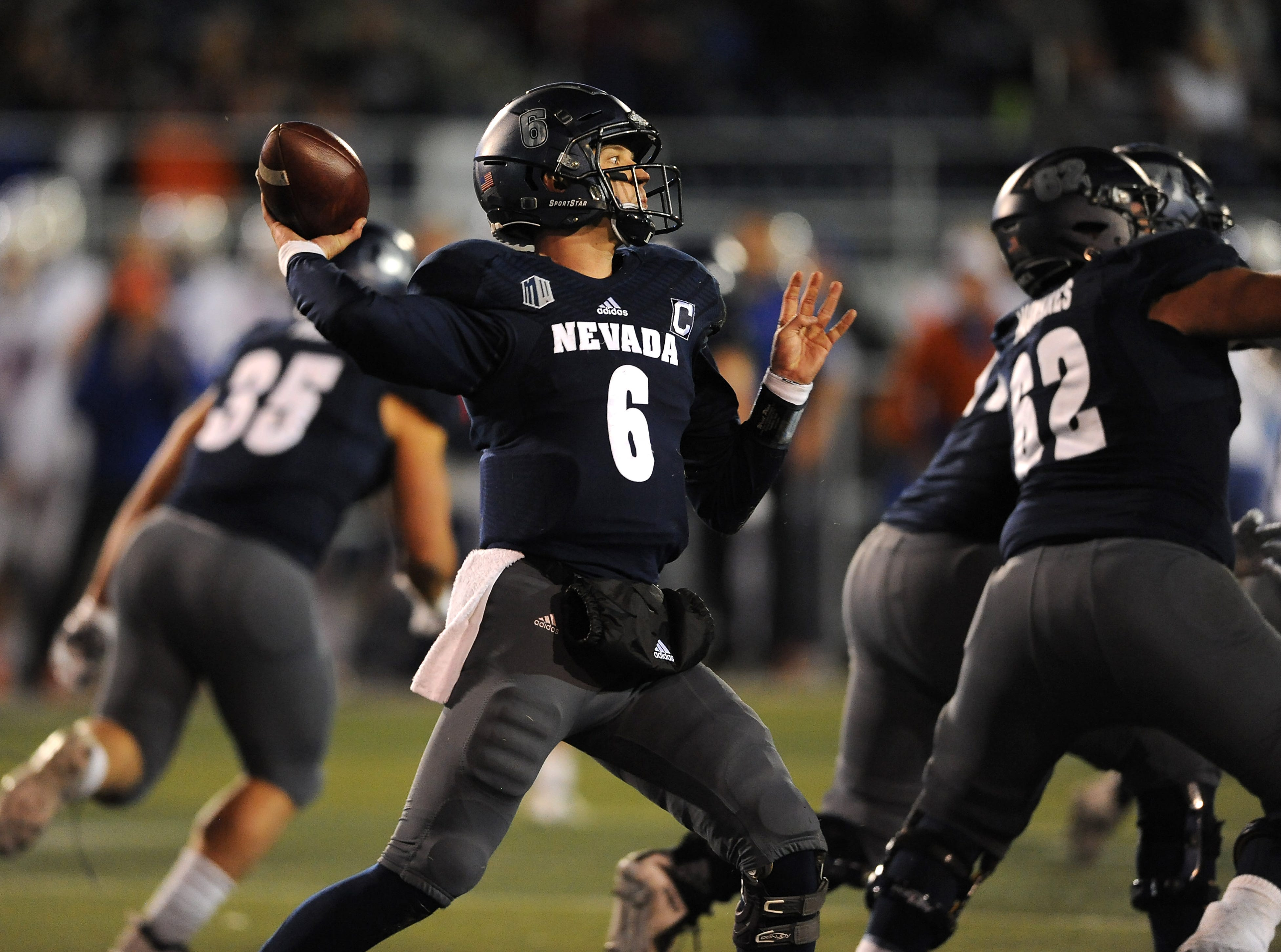 Nevada's Ty Gangi (6) throws a pass while taking on Boise St. during their football game at Mackay Stadium in Reno on Oct. 13, 2018.